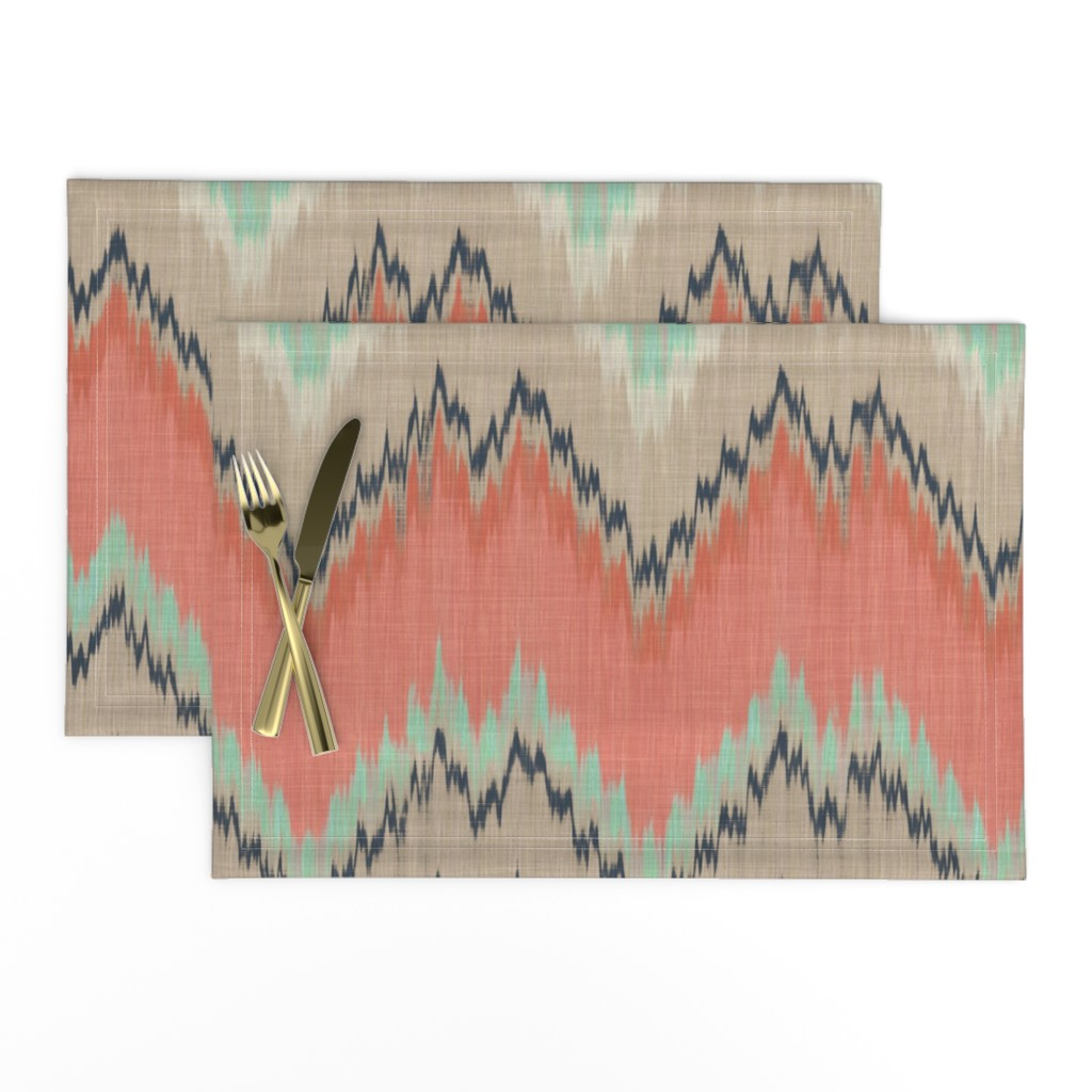 Lamona Cloth Placemats featuring Large Scale Ikat Chevron in Mint, Coral and Navy by willowlanetextiles