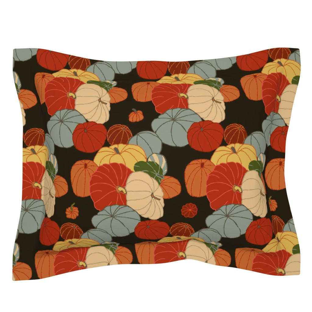 Sebright Pillow Sham featuring pumpkins & gourds by lfntextiles