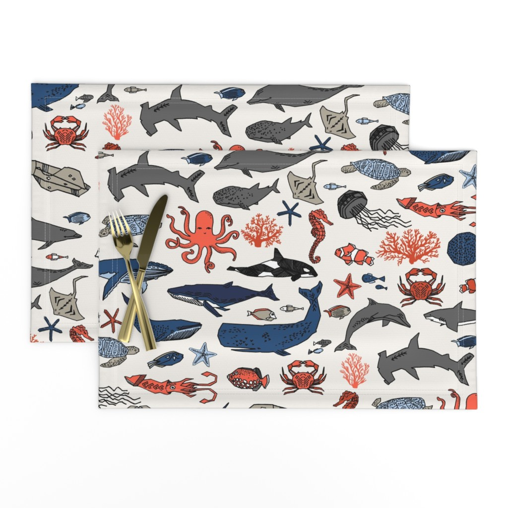 Lamona Cloth Placemats featuring ocean animals // kids shark whale squid crab shark fish dolphin kids ocean nautical animals by andrea_lauren