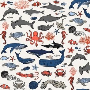ocean animals // kids shark whale squid crab shark fish dolphin kids ocean nautical animals