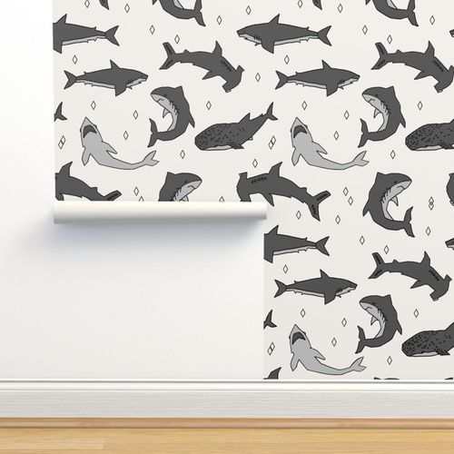 Custom Printed Removable Self Adhesive Wallpaper Roll by Spoonflower Sharks Gray And Coral Pattern By Andrea Lauren Sharks Wallpaper