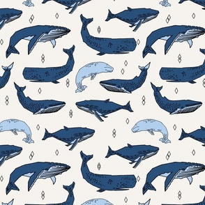 whales // ocean nautical animals kids blue