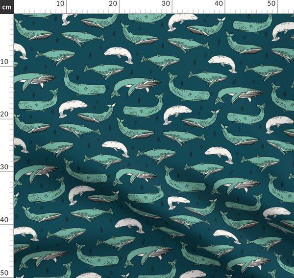 100/% Tela De Algodón-Sealife ballenas /& Peces Sea amigos por Qt telas