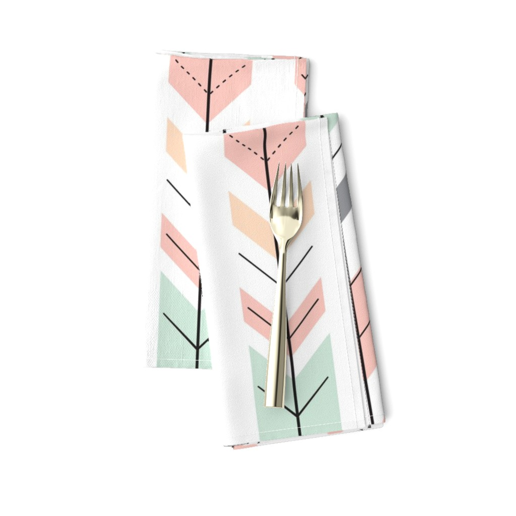 Amarela Dinner Napkins featuring Fletching Arrows // Pink,Grey,Mint,Peach by littlearrowdesign