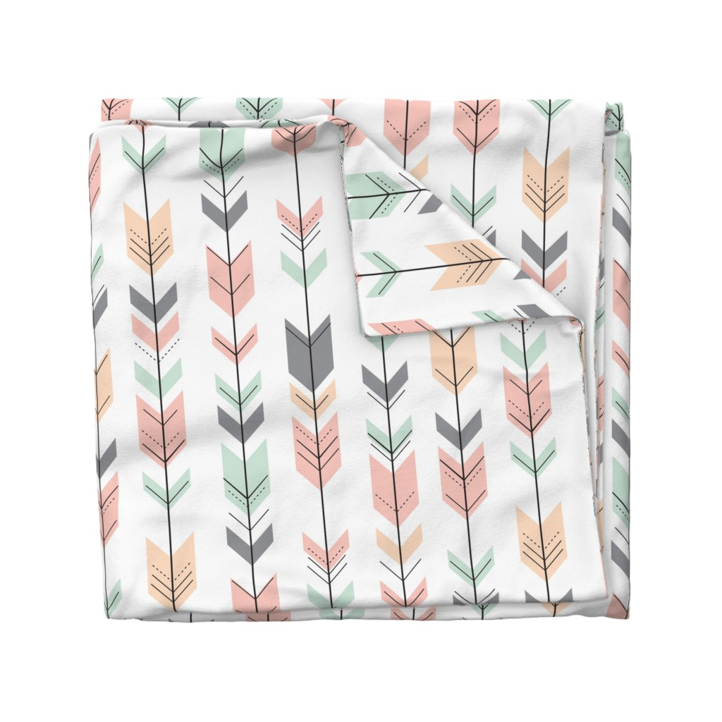 Wyandotte Duvet Cover featuring Fletching Arrows // Pink,Grey,Mint,Peach by littlearrowdesign