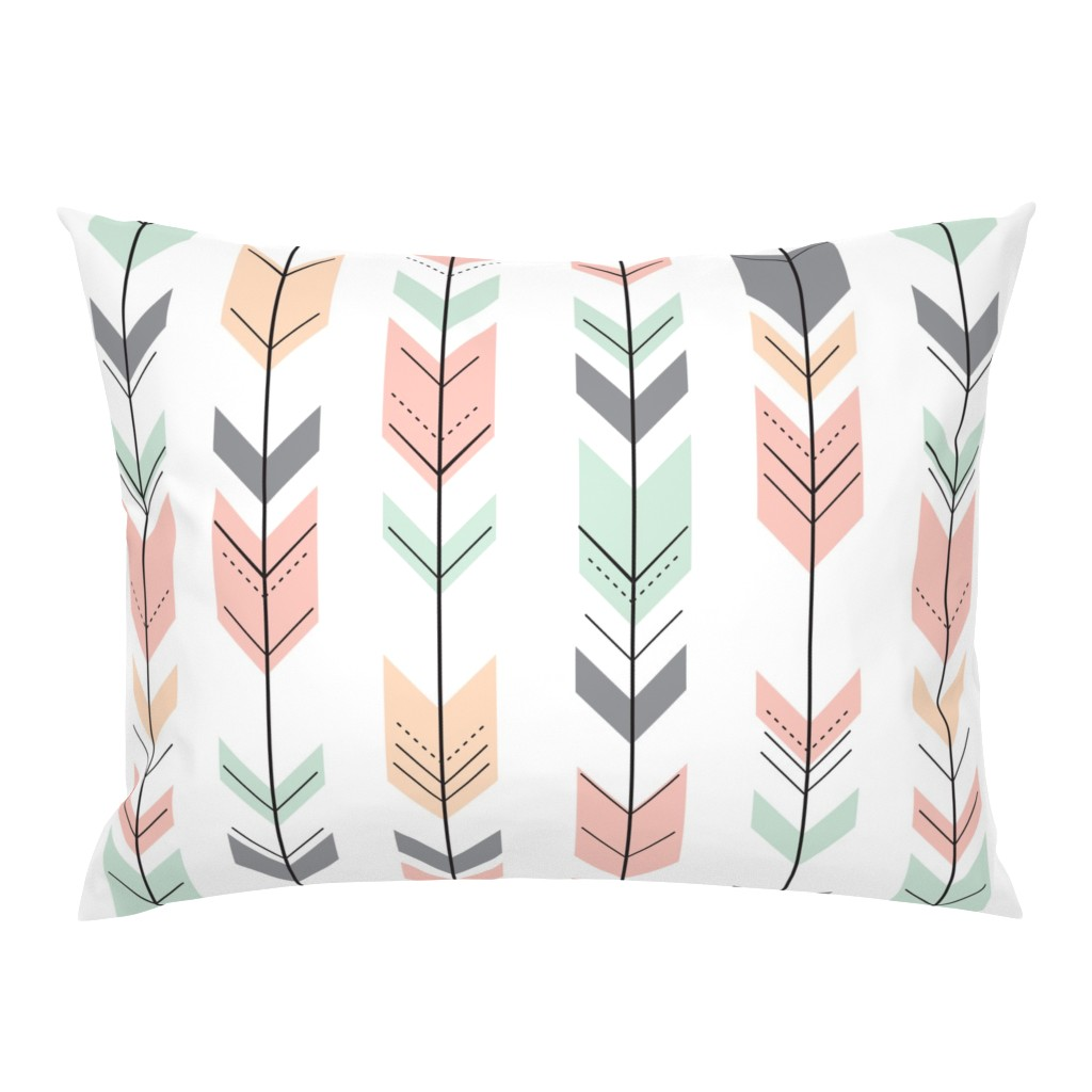 Campine Pillow Sham featuring Fletching Arrows // Pink,Grey,Mint,Peach by littlearrowdesign