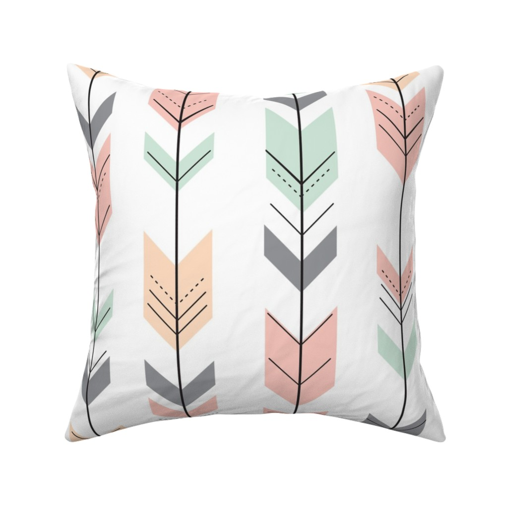 Catalan Throw Pillow featuring Fletching Arrows // Pink,Grey,Mint,Peach by littlearrowdesign
