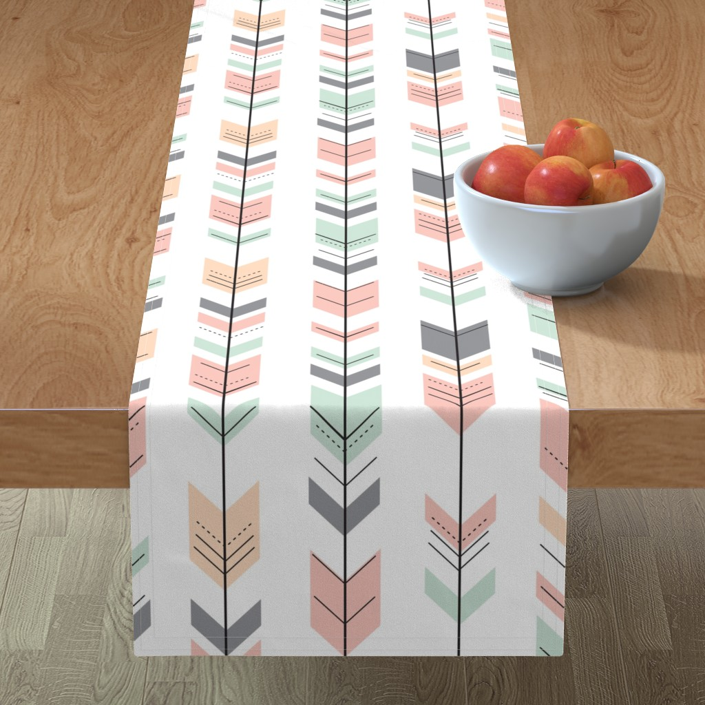 Minorca Table Runner featuring Fletching Arrows // Pink,Grey,Mint,Peach by littlearrowdesign