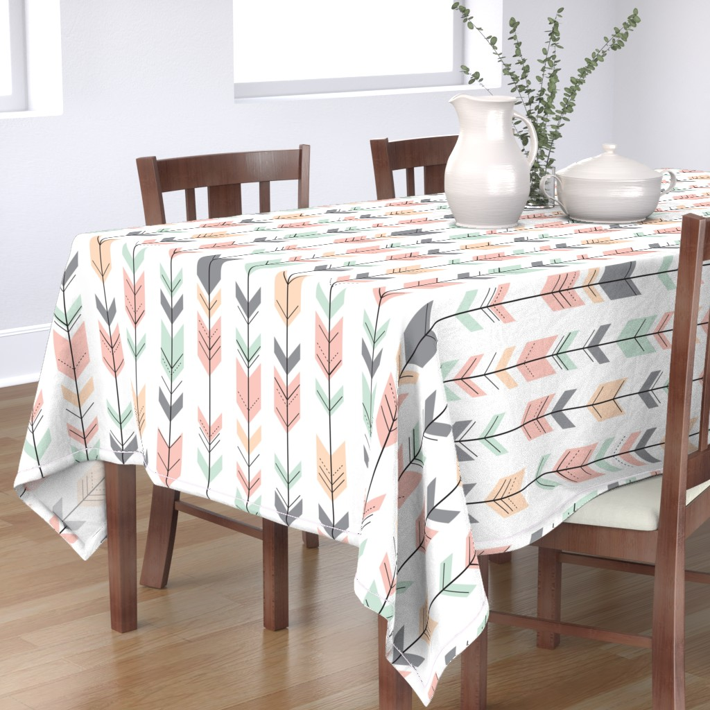 Bantam Rectangular Tablecloth featuring Fletching Arrows // Pink,Grey,Mint,Peach by littlearrowdesign