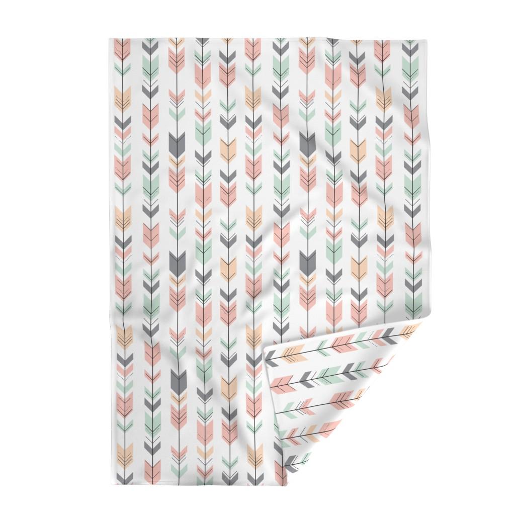 Lakenvelder Throw Blanket featuring Fletching Arrows // Pink,Grey,Mint,Peach by littlearrowdesign