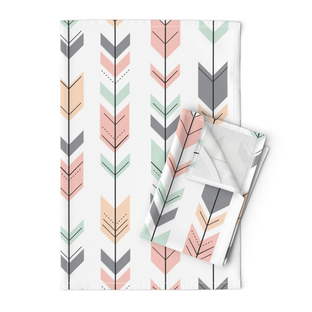 Orpington Tea Towels featuring Fletching Arrows // Pink,Grey,Mint,Peach by littlearrowdesign