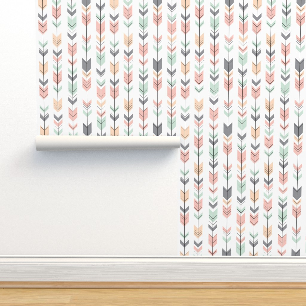 Isobar Durable Wallpaper featuring Fletching Arrows // Pink,Grey,Mint,Peach by littlearrowdesign