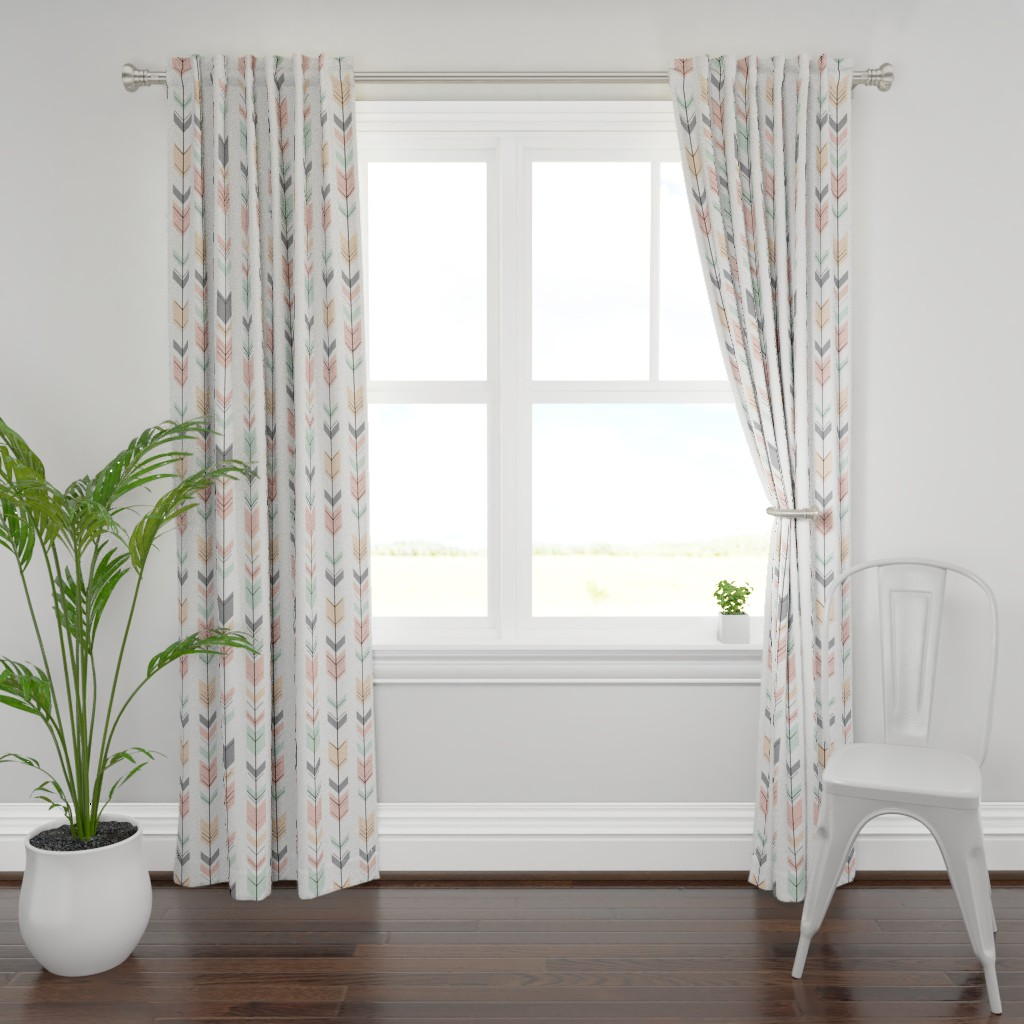 Plymouth Curtain Panel featuring Fletching Arrows // Pink,Grey,Mint,Peach by littlearrowdesign