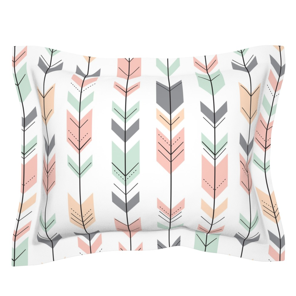 Sebright Pillow Sham featuring Fletching Arrows // Pink,Grey,Mint,Peach by littlearrowdesign