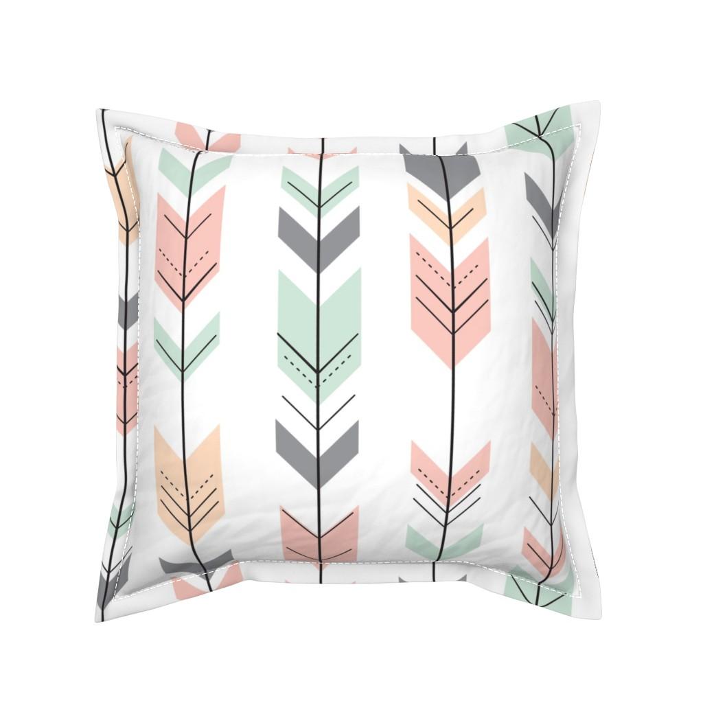 Serama Throw Pillow featuring Fletching Arrows // Pink,Grey,Mint,Peach by littlearrowdesign