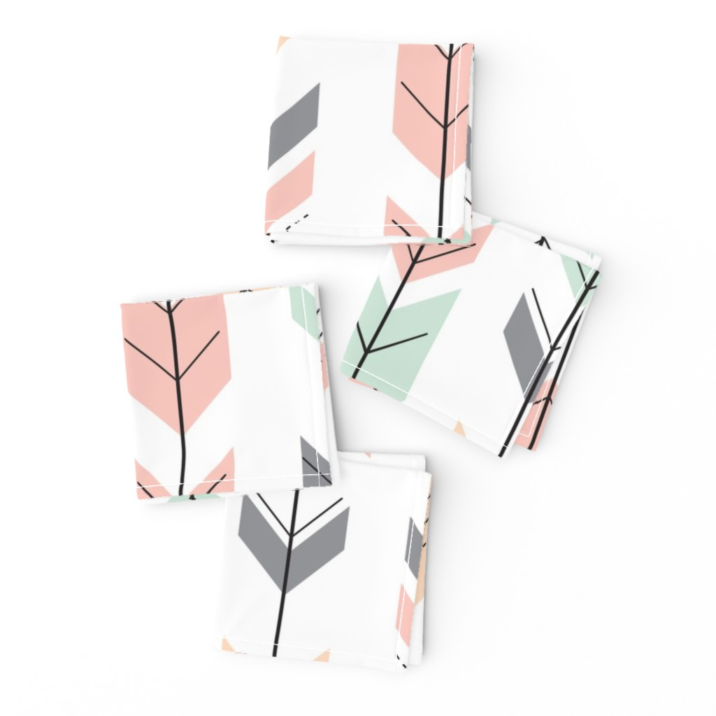 Frizzle Cocktail Napkins featuring Fletching Arrows // Pink,Grey,Mint,Peach by littlearrowdesign