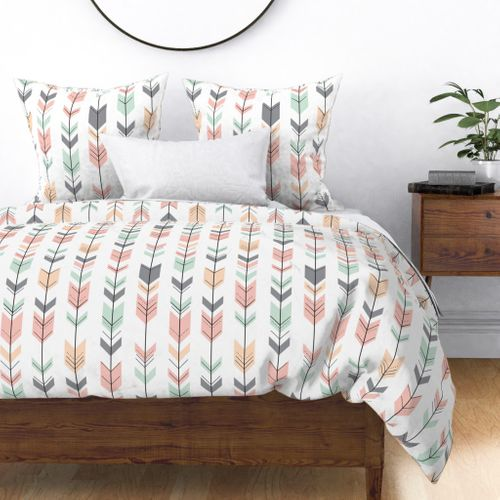 Home Decor Duvet Cover, Pink Grey And Mint Bedding
