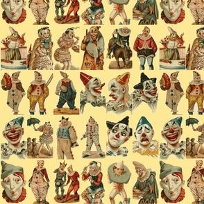 vintage circus clowns on cream background