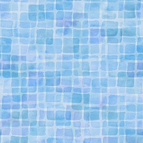 double watercolor squares in blue