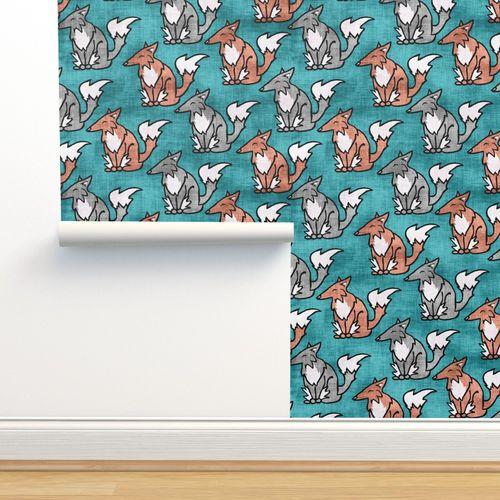 Wallpaper Red Fox Silver Fox