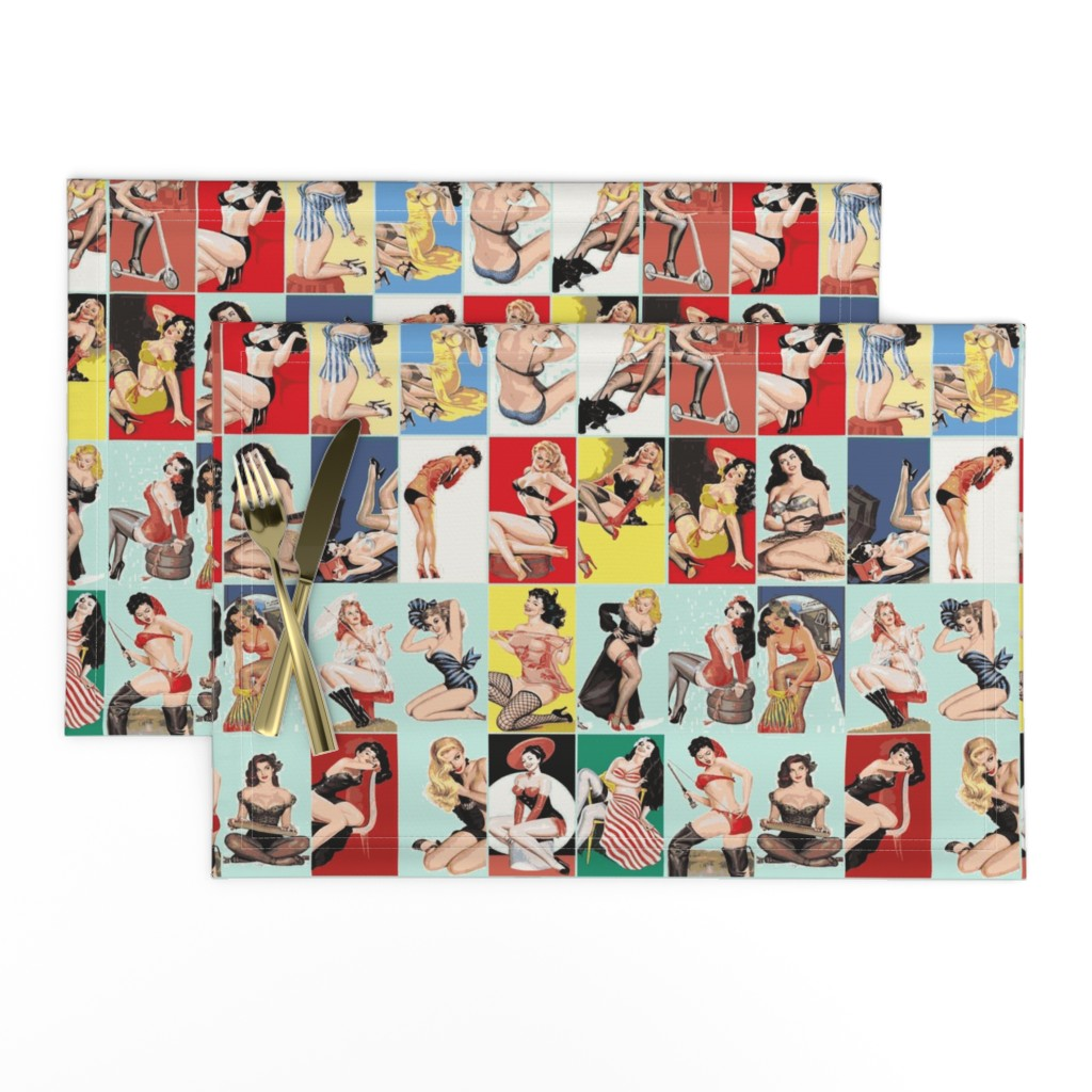 Lamona Cloth Placemats featuring vintage pin ups in light blue by olivemlou