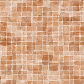 double watercolor squares - brown leaves