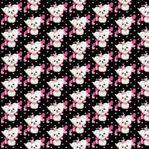 Maltese pink black hearts smaller print