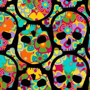 Day of the Dead flowered skull black on multi