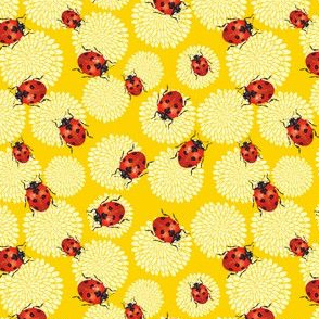 Cute Ladybug and Chrysanthemums