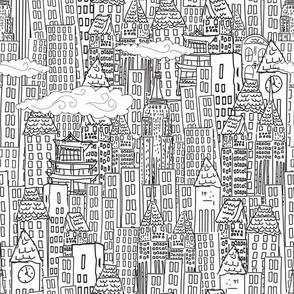 Cute Cartoon City - Black and White