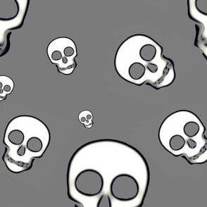 Skull White on gray tossed