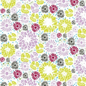 Ditsy flowers (pink and green)