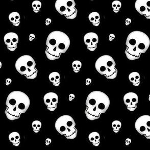 XL Skull White on Black- tossed 2