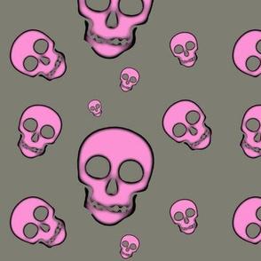 Pink Skulls on Gray