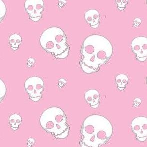 Skull White on Pink- tossed