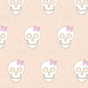 Skull with pink bow