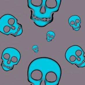 Skulls-Turquoise on Gray