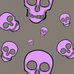 Skull Purple on Gray