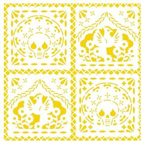 Papel Picado white on yellow ground