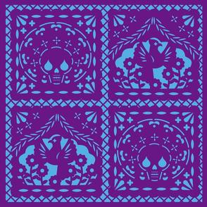 Papel Picado purple on blue ground