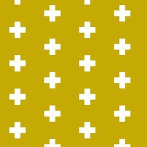 Small white swiss cross on honey mustard