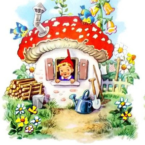 vintage retro elf elves pixies trolls gnomes mushrooms cottages birds red bells daisies daisy birds rural rustic flowers farm gardens plants