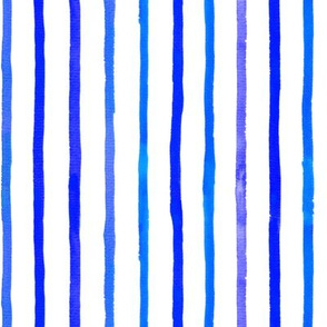 Sparse Blue Watercolor Stripes
