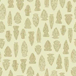 arrowheads in tan and cream