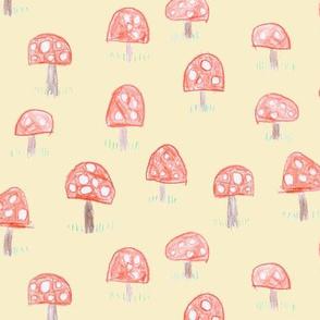 Mac's mushrooms on pale cream