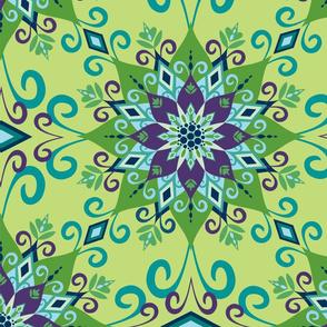 Blooming Mandala-Green-Large Scale