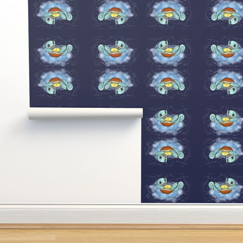 Wallpaper Squirtle Navy Blue Background