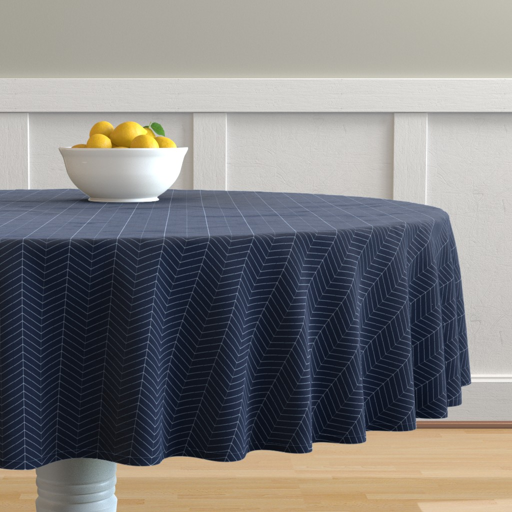 Malay Round Tablecloth featuring Herringbone // Navy by littlearrowdesign