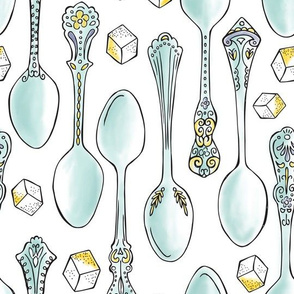 Spoonful of Sugar - Watercolor Kitchen White Lrg Scale
