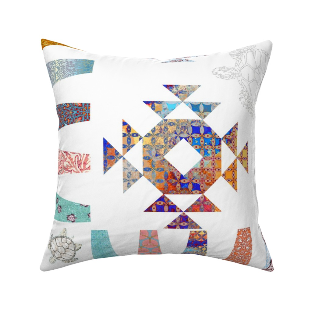 Catalan Throw Pillow featuring Charo's turtle quilt by keweenawchris